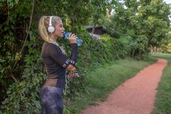 Sporty woman drinking water after workout stock image