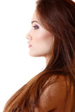 Portrait of beautiful young woman face in profile Stock Photo