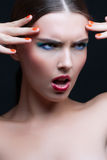 Portrait of a beautiful young woman with fashion make up Royalty Free Stock Image