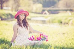 Portrait of a Beautiful Young Woman in Field Stock Photos