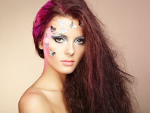 Portrait beautiful young woman with flying hair Royalty Free Stock Photo