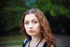 Portrait of a beautiful young woman. Focus on the eye Stock Image