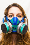 Portrait of Beautiful Young Woman with gas mask Stock Photography