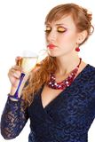 Portrait of a beautiful young woman with a glass of champagne Royalty Free Stock Photography