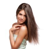 Portrait of a beautiful young woman with hair flying Royalty Free Stock Images
