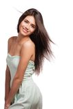 Portrait of a beautiful young woman with hair flying Stock Images