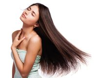 Portrait of a beautiful young woman with hair flying Royalty Free Stock Photography