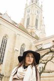 Portrait of a beautiful young woman with hat Royalty Free Stock Images
