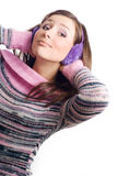 Portrait of a beautiful young woman with Headphone Royalty Free Stock Image