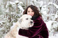 Portrait of beautiful woman with her South Russian Shepherd Dog on a background of winter coniferous forest. stock photos