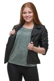 Beautiful Young Woman Holding Black Leather Jacket Stock Images