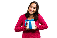 Portrait of beautiful young woman holding gift box Stock Photos