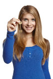 Woman showing house key Stock Image