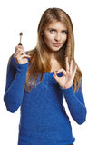 Woman showing house key Stock Photography