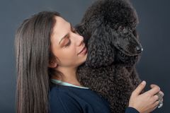 Portrait of a beautiful young woman hugging her beautiful dog stock images