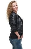 Beautiful Young Woman in Leather Jacket Stock Image