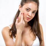 Portrait of a beautiful young woman. Skin Care Royalty Free Stock Image