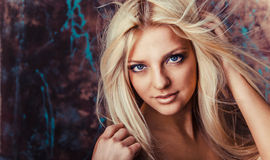 Portrait of beautiful young woman with long hair. Stock Image