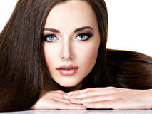 Portrait of beautiful young woman with long straight brown hair Royalty Free Stock Photos