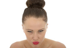 Portrait Of A Beautiful Young Woman Looking Very angry and Frust Stock Photo