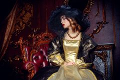 The history of dress. Portrait of a beautiful young woman in the lush expensive dress and elegant broad-brimmed hat in an old palace interior. Vintage style Stock Images