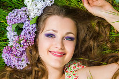 Portrait of the young beautiful woman outdoors Royalty Free Stock Photos