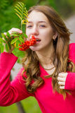 Portrait of a beautiful young woman. With natural make-up in nature in autumn Stock Images