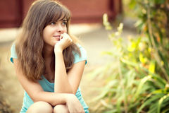 Portrait of a beautiful young woman in nature Royalty Free Stock Photography