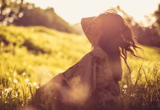 Portrait of beautiful young woman at nature. royalty free stock photo
