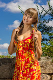 Portrait of a beautiful young woman in nature Royalty Free Stock Images