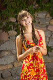 Portrait of a beautiful young woman in nature. With long brown hair braided in a long bright dress and bright makeup Royalty Free Stock Images