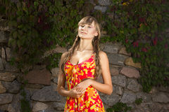 Portrait of a beautiful young woman in nature. With long brown hair braided in a long bright dress and bright makeup Royalty Free Stock Photo
