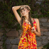 Portrait of a beautiful young woman in nature. With long brown hair braided in a long bright dress and bright makeup Stock Photos