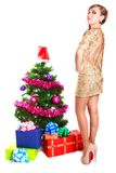 Portrait of a beautiful young woman near the Christmas tree and. Presents isolated over white background Stock Photography