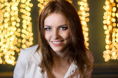 Portrait of a beautiful young woman at night Royalty Free Stock Images