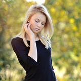 Portrait of beautiful young woman outdoor Stock Photos