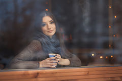 Portrait of beautiful young woman. Outdoor Stock Image
