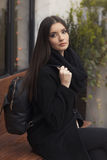 Portrait of beautiful young woman. Outdoor Stock Photography