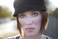 Portrait of beautiful young woman outside. royalty free stock photos