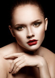 Portrait of Beautiful Young Woman with perfect make-up. Stock Photography