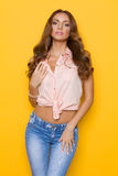 Portrait of Beautiful Young Woman In Pink Pastel Shirt Stock Photography
