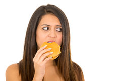 Portrait beautiful young woman posing for camera eating hamburger while making guilty facial expression, white studio Stock Images