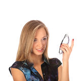 Portrait of a beautiful young woman posing with glasses Stock Photo