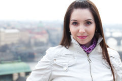 Portrait of beautiful young woman in Prague Royalty Free Stock Image