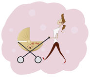 Portrait of beautiful young woman pushing baby carriage Stock Photography