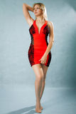 Portrait of a beautiful young woman in red dress Royalty Free Stock Image