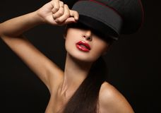 Portrait of beautiful young woman with red lips Stock Image