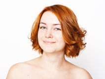 Portrait of beautiful young woman, redhears Stock Photos