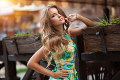 Portrait of beautiful young woman in romantic dress in the sunse. T street Stock Photography