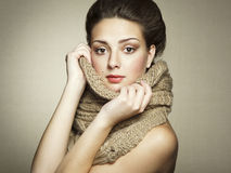 Portrait of a beautiful young woman with scarf Royalty Free Stock Photography